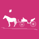 Illustration  Horsedrawn Carriage And Oak Leaf Travel And Leisure Wall Sticker
