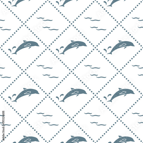 Fototapeta Seamless pattern with dolphins, splashes and waves