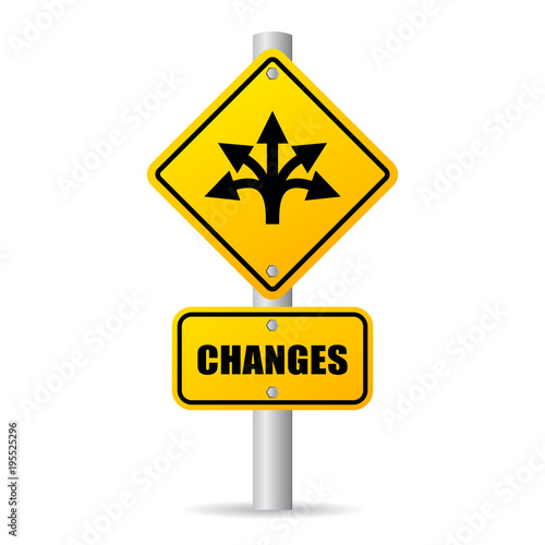 Changes ahead vector road sign