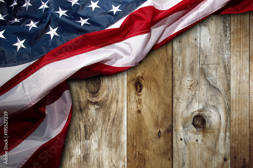 American flag on boards - 195527239