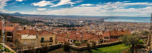 Fototapeta Rare Panoramic view of Thessaloniki city, Greece, High Resolution