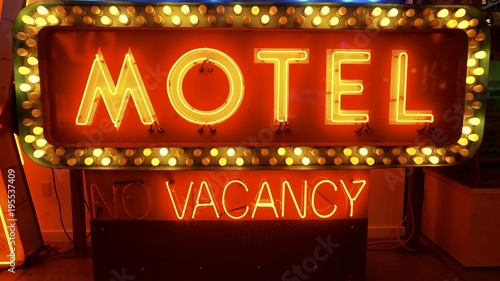 Poster Las Vegas neon light up motel vacancy sign old signs for advertising