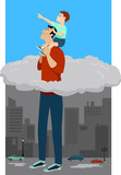 Superhero father holding son on his shoulder, lifting him above the clouds, EPS 8 vector illustration