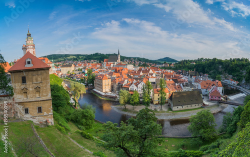 Poster Panoramic view over Cesky Krumlov town in beautiful Summer town