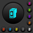 Ink cartridge dark push buttons with color icons