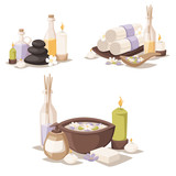 Spa  Icons Treatment Beauty Procedures Wellness Spamassage Herbal Cosmetics Aroma Spa Stones Towels And Lotus Flower Illustration Wall Sticker