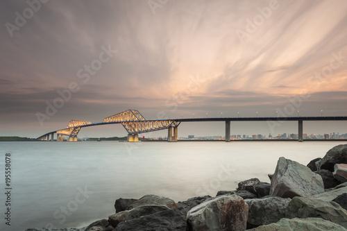 Aluminium Tokio Tokyo bay with Tokyo gate bridge in evening