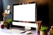 Mockup of creative desktop of designer at dark interior workplace.