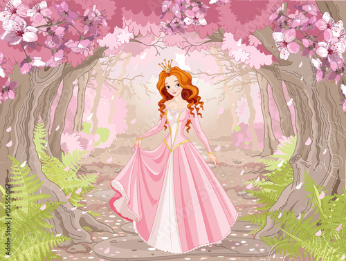 Staande foto Sprookjeswereld Beautiful Red Haired Princess