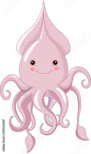 Aluminium Meisjeskamer Cute Squid