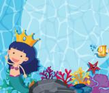Underwater scene with mermaid and fish - 195565896