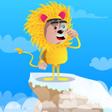 Boy dressed as lion holding a magnifying glass. Vector cartoon character illustration.