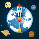 Rocket launch on the space or cosmos as business, start up project, paper art and craft style concept. vector illustrator.