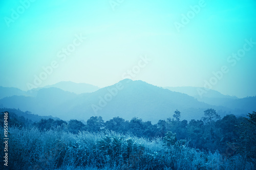 Staande foto Lichtblauw mountain landscape nature background with blue filter effect