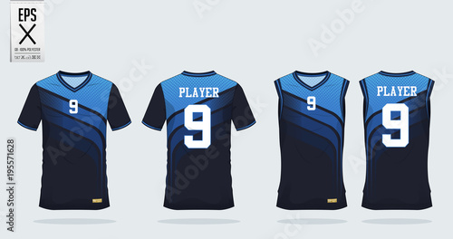 Blue t-shirt sport design template for soccer jersey, football kit and tank top for basketball jersey. Sport uniform in front and back view. Tshirt mock up for sport club. Vector Illustration.