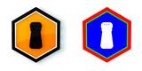 Ikona sześciobok 3D sześciokąt - 195572607
