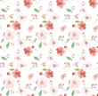 Seamless pattern with small spring flowers. Pink cherry flowers on a white background. Background for textile, manufacturing, book covers, wallpapers, print or gift wrap. Vector illustration. - 195585600