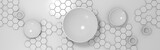 3d abstract technological background with circles and hexagons