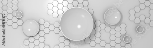 3d abstract technological background with circles and hexagons - 195588670