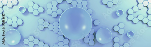 3d abstract technological background with circles and hexagons - 195588687