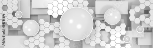 3d abstract technological background with circles and hexagons - 195588696