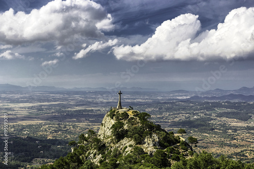 Cross at the top of a hill in Felanitx, Mallorca, Spain