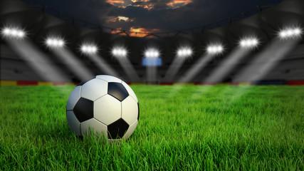 Fußball auf Rasen im Stadion bei Nacht mit Scheinwerfern, 3D Rendering