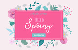 Spring sale - special offer vector illustration with flowers and leaves for campaign banner, design template