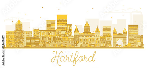 Hartford Connecticut USA City Skyline Golden Silhouette - 195607027