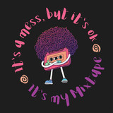Tape Character. Mixtape Illustration. WIth Slogan. Super Afro Haircut Style. Thumbs Up Gesture. Pop Music 80s, 90s - 195607456