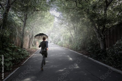 Foto op Plexiglas Hoogte schaal He is on his way. Mixed media