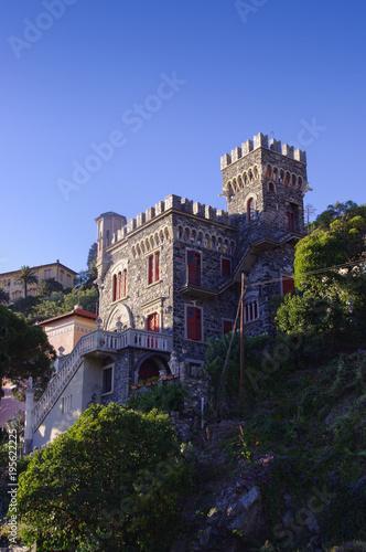 Foto op Canvas Liguria castle in Levanto city, Italy sea coast