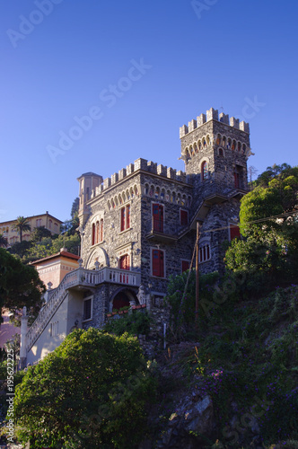Fotobehang Liguria castle in Levanto city, Italy sea coast