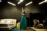 Vogue fashion style portrait of young beautiful pretty elegant rich woman wearing evening dress in luxury apartments - 195623027