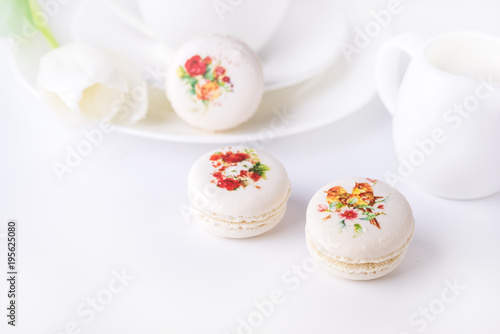 Vanilla French Beautiful White Macarons on White Background Cup of Coffee Beauti Poster