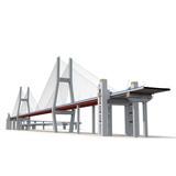 Nanpu Bridge on white. 3D illustration