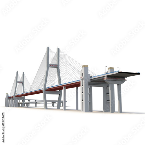 mata magnetyczna Nanpu Bridge on white. 3D illustration