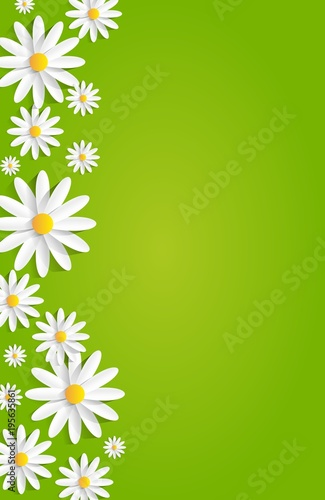 Spring Flowers On Green Background vector illustration