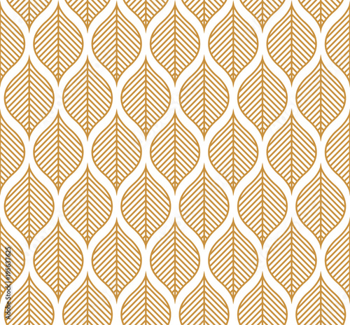 Vector Geometric Leaf Seamless Pattern. Abstract leaves texture. - 195637625