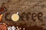 Coffee Word And Beans With Cup Of Coffee. - 195639226