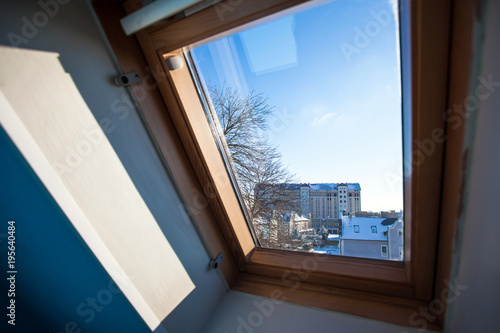 winter sunny view outside the window - 195640484