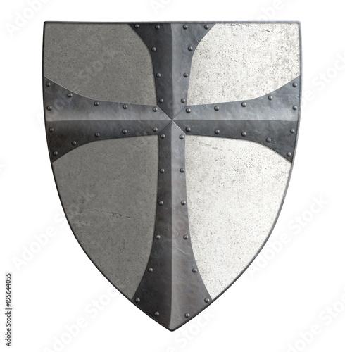 Ancient templar or crusader metal shield 3d illustration Poster