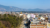 Boudhanath road and Boudhanath stupa as seen from a vantage point in Kathmandu, Nepal - 195645879