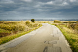 Road in the Guerande salt marshes, France. Sunlight and moody sky.  - 195645885