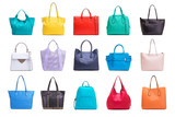 A collection of various women's bags. - 195647626