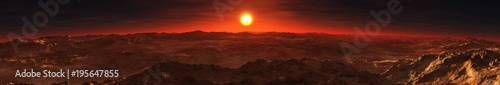 Papiers peints Marron Sunset panorama on the red planet Mars 3D rendering