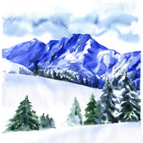 Winter landscape with snow covered trees, travel background, Alpine Alps mountain, hand drawn watercolor illustration