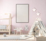 Poster frame mockup in kids room, stylish decor 3d rendering - 195652247