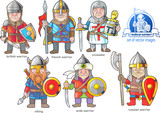 funny medieval warriors, set of cartoon images - 195652283