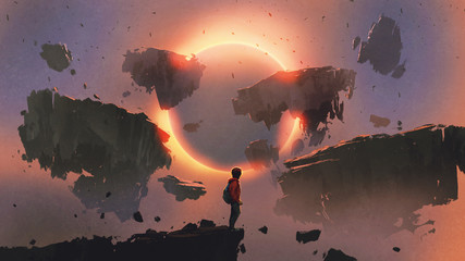 boy standing on the edge of the cliff looking at eclipse and rocks floating in the sky, digital art style, illustration painting © grandfailure